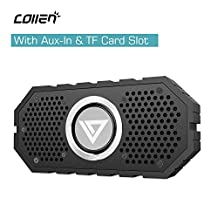 Waterproof Bluetooth Speaker with Aux-In & TF Card Slot, Collen Hi-Fi Stereo Bluetooth 4.0 Speaker with Mic, Hands-free Calling, Dual-Subwoofer, Water Resistant & Shockproof for Shower, Indoor, Outdoor Activities (Black)