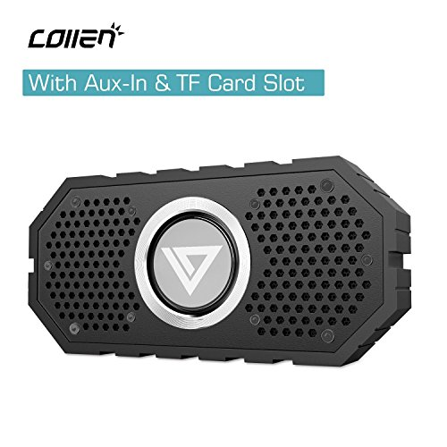 Amazon Lightning Deal 71% claimed: Waterproof Bluetooth Speaker with Aux-In & TF Card Slot, Collen Hi-Fi Stereo Bluetooth 4.0 Speaker with Mic, Hands-free Calling, Dual-Subwoofer, Water Resistant & Shockproof for Shower, Indoor, Outdoor Activities (Bl...