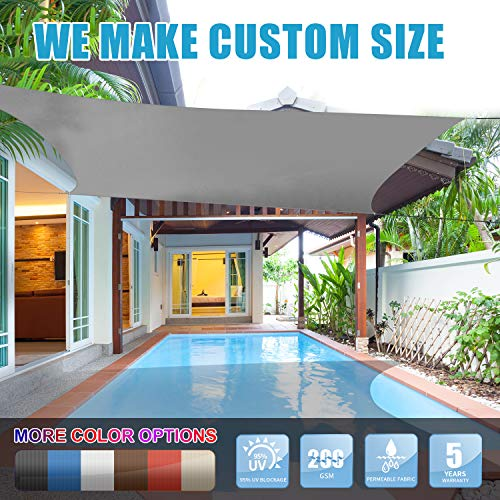 Amgo 16' x 16' Grey Square Sun Shade Sail Canopy Awning, 95% UV Blockage, Water & Air Permeable, Commercial and Residential, for Patio Yard Pergola, 5 Years Warranty (Available for Custom Sizes) (For Sunshades Patios)