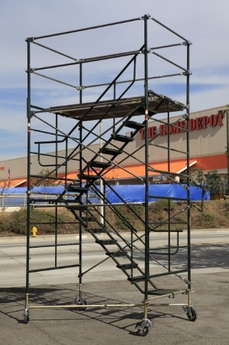 SCAFFOLDING STAIRWAY ROLLING TOWER WITH ADJUSTABLE WHEELS FROM 11'7