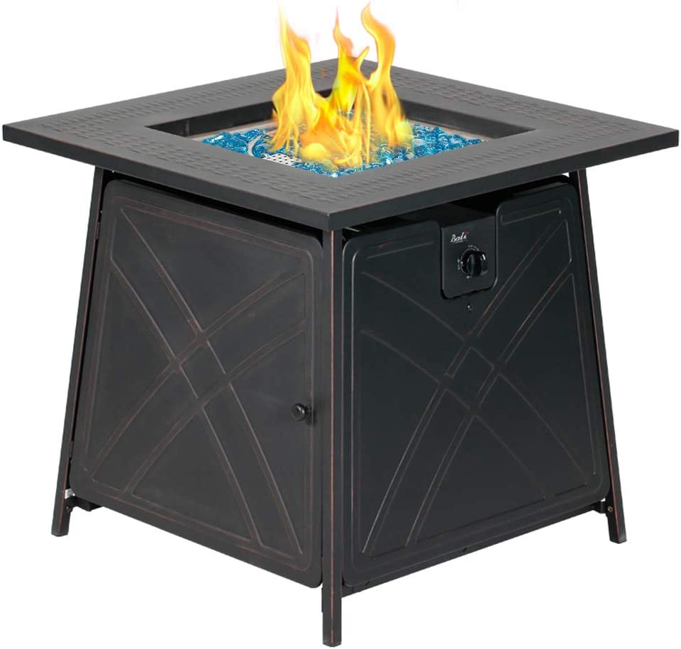 Amazon Com Bali Outdoors Gas Fire Pit Table 28 Inch 50 000 Btu Square Outdoor Propane Fire Pit Table With Lid And Blue Fire Glass Garden Outdoor