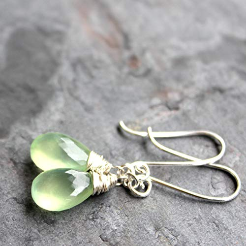 - Teardrop Prehnite Earrings Sterling Silver, handmade pale lime briolettes