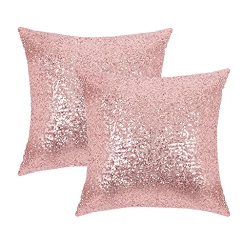 Pony Dance Decorative Comfy Satin Solid Throw Pillow Covers 18 Inch Square Cusion Covers,Hidden Zipper Design,(2 Pieces,Rose Gold ) - Rose Decorative Pillows
