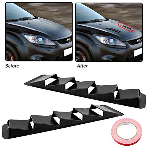 (YOUNGFLY 2Pcs 5 Vent Louver Cooling Panel Trim Carbon Fiber Look Style Hood Fit for All)