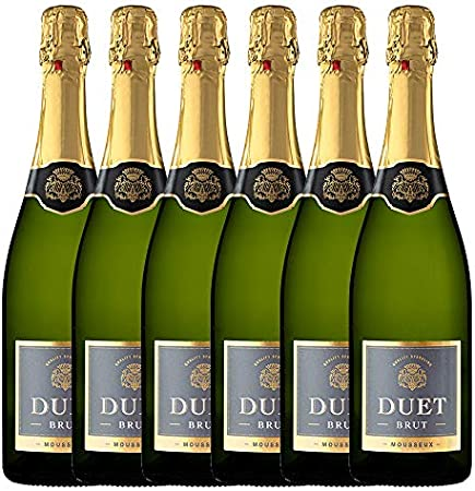 DUET Vino Espumoso Blanco Brut - 6 botellas x 750ml - Total:4500ml