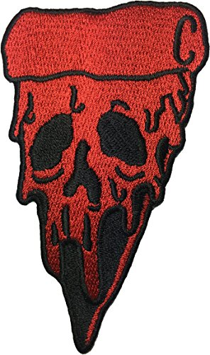 [Pizza Skull (RED) size 6x10.5cm. biker heavy metal Horror Goth Punk Emo Rock DIY Logo Jacket Vest shirt hat blanket backpack T shirt Patches Embroidered Appliques Symbol Badge Cloth Sign Costume] (Costumes Pizza Hat)