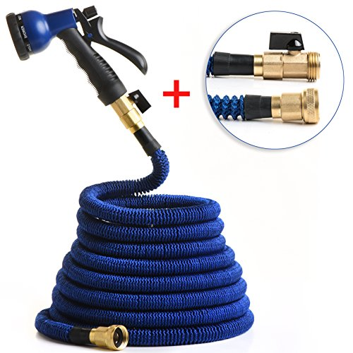 RawElement- Durable 5,000 Denier 50 ft' Expandable Hose - Reinforced Connectors, Double latex, High pressure, Kink free. With nozzle + 2 Extra Seals! + 12 months manufacturers warranty. Blue