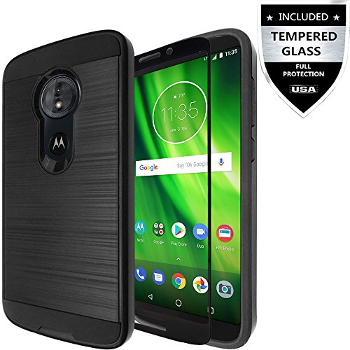 Moto E5 Play Case/Moto E5 Cruise Case with Tempered Glass,IDEA LINE Hybrid Hard Shockproof Slim Fit Brushed Shockproof Protector Cover Heavy Duty Protective for Motorola Moto E Play 5th Gen - Black