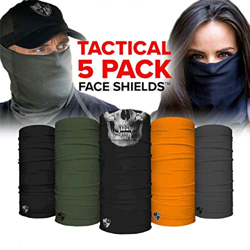 S A - UV Face Shield 5 Pack - Tactical - Multipurpose Neck Gaiter, Balaclava, Elastic Face Mask for Men and Women