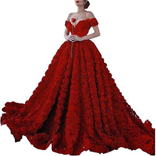 264679ce0cf Dimei 2018 Red Off Shoulder Long Prom Dress with Rose Floral Ruffles A Line Puffy  Quinceanera Dresses Train V-Neck Ball Gown