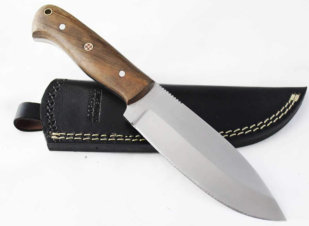 Moorhaus Full Tang Bushcraft Knife - Wood Handle - Handmade Good for Camping/Hunting/Skinning - Fixed Blade Knife Includes Leather Sheath