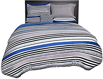 Beco Home Bedding Collection: 8 Piece Bed-in-a-Bag Comforter Set, Blue Stripe, Full 94YB4 099201