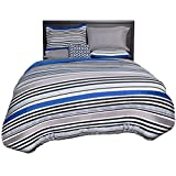 Beco Home Bedding Collection: 8 Piece Bed-in-a-Bag Comforter Set, Blue Stripe, Full