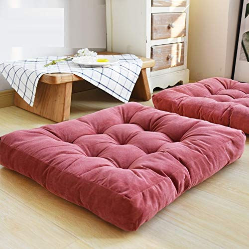 HIGOGOGO Solid Square Seat Cushion, Tufted Thicken Pillow Seat Corduroy Chair Pad Tatami Floor Cushion for Yoga Meditation Living Room Balcony Office Outdoor, Watermelon Red, 22x22 Inch ()