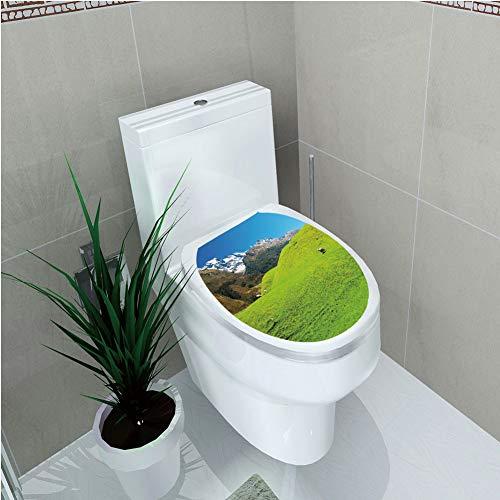Toilet Sticker,Nature,Idyllic Hills Mountain Land Farm New Zealand Snowy Peaks Spring Landscape,Lime Green Brown Blue,Diversified,W12.6