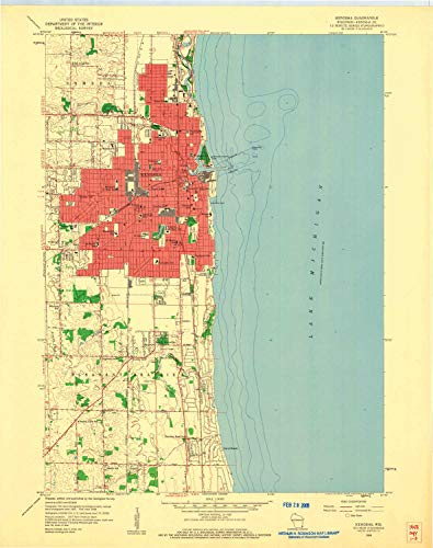 (YellowMaps Kenosha WI topo map, 1:24000 Scale, 7.5 X 7.5 Minute, Historical, 1958, Updated 1960, 27.25 x 21.56 in - Paper)