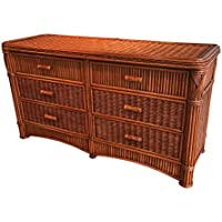 Wicker Paradise GQN107 Barbados Six Drawer Rattan Dresser, Large