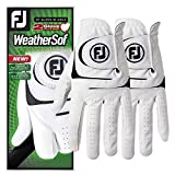 FootJoy WeatherSof 2-Pack Golf Gloves 2018 Regular White/Black Fit to Left Hand Small