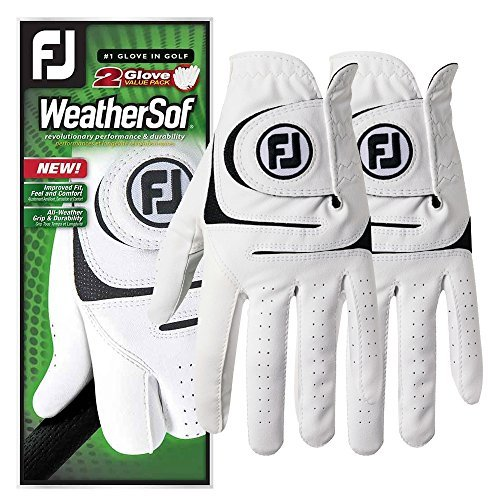 FootJoy WeatherSof 2-Pack Golf Gloves 2018 Regular White/Black Fit to Left Hand Medium/Large