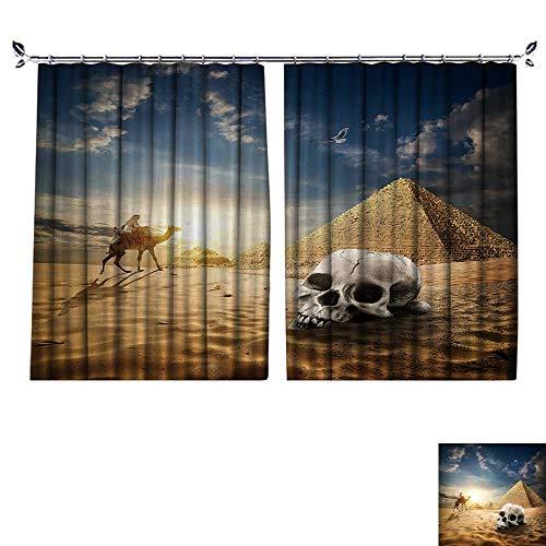 DESPKON The Shade Block Ultraviolet Skull Near Pyramids in Sand Desert at Sunrise for Bedroom, Living Room, for Shade. W63 x L63