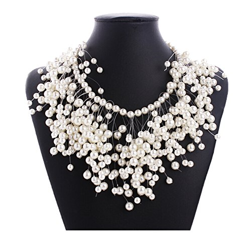 Faux Pearl Tassel Beads Cluster Chunky Choker Collar Statement Bib Necklace ()