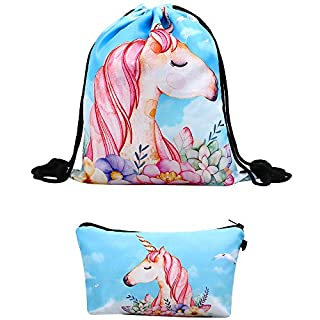 Unicorn Gifts for Girls Drawstring Backpack/Makeup Bag/Bracelet/Necklace for Party Favors