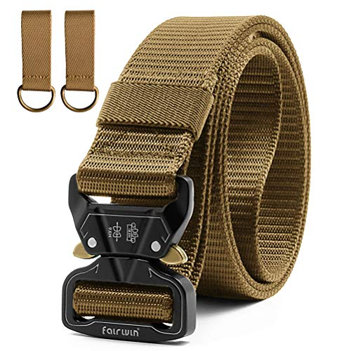 Fairwin Tactical Belts for Men, 1.5 Inch Nylon Web Belt Military Style with Quick-Release Buckle- No Holes Belt