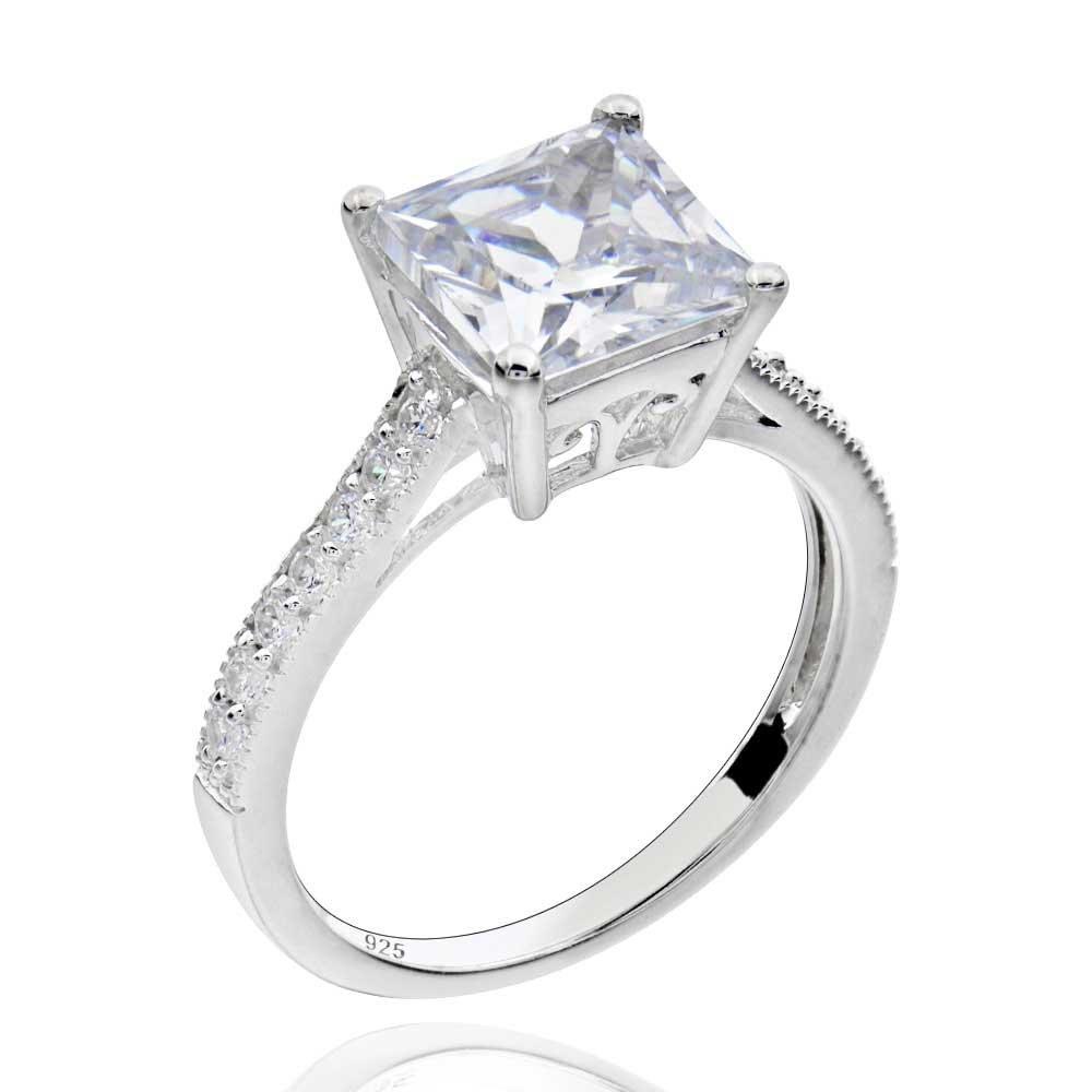 Sterling Silver 2.75 Ct Princess-Cut Cubic Zirconia Bridal Engagement Ring Sz 7