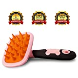 Pet Grooming & Gentle Massage Brush – Ideal as Dog Brush or Cat Brush – Comb with Soft Silicone Bristles – Dog Grooming Supplies – Remove Loose Hair, Dirt, Dandruff & Improve Coat Health