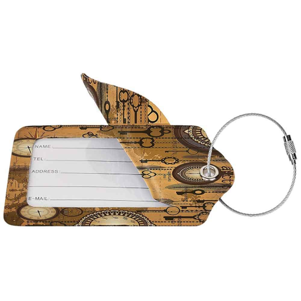 Small luggage tag Antique Decor Collection Antique Background with Map Clocks and Feathers Time Classics Country Style Quickly find the suitcase Peru Sienna Brown W2.7 x L4.6