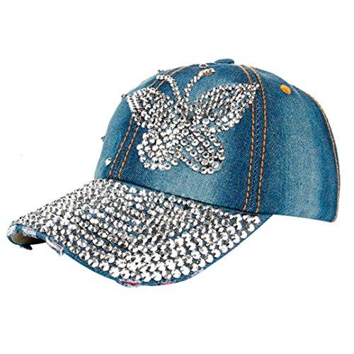 Price comparison product image Gotd Baseball Cap Women Men Butterfly Denim Rhinestone Adjustable Flat Hat (B)