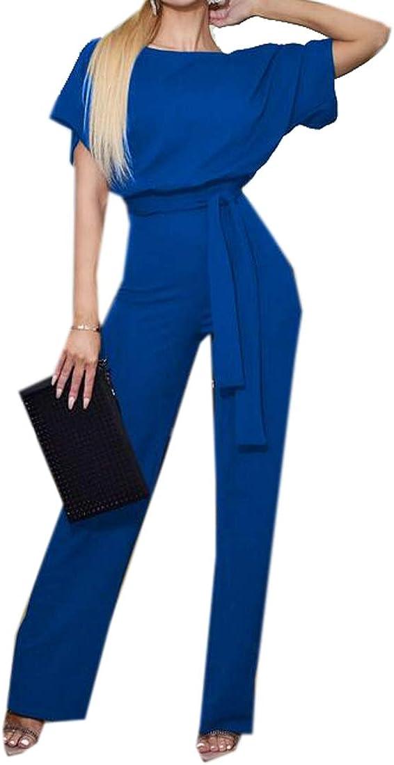 YYG Womens Wide Leg Loose Short Sleeve Summer Solid Jumpsuit Romper