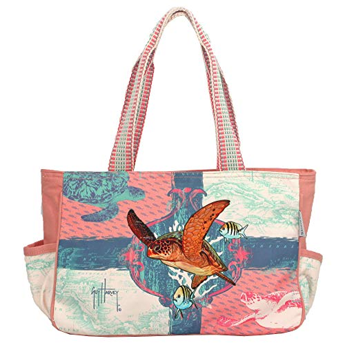 Guy Harvey Turtle In Flight Medium Pink Tote Bag