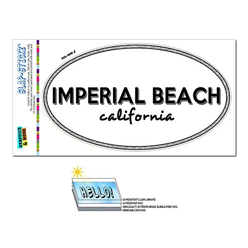 Graphics and More Euro Oval Window Bumper Laminated Sticker California CA City State Gil - Laf - Imperial - Beach City Shipping