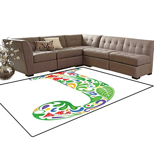 (Letter J Door Mats Area Rug Initial Capital J with Tropical Nature Elements Leaves and Flowers Abstract Swirls Anti-Skid Area Rugs 6'x9')