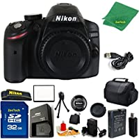 Nikon D3200 DSLR Camera Body + 32 GB Memory Card + Case + Reader + 6PC Starter set + Microfiber Cloth + Extra Charger - International Model
