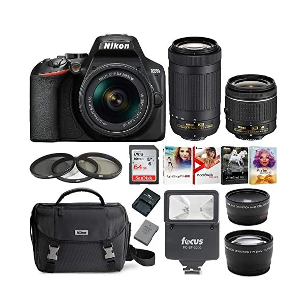 512jexAdM4L. SS600  - Nikon D3500 DSLR Camera with AF-P 18-55mm and 70-300mm Zoom Lenses Bundle with 64GB Card and Accessories (7 Items)