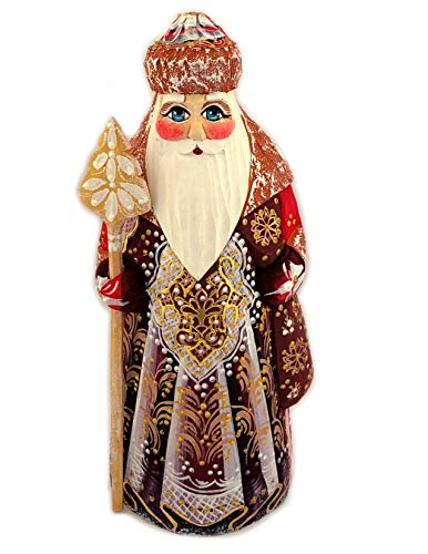 Russian Santa Figurine - Wooden Hand Carved Painted Russian Santa Claus Figurine Father Frost 6 1/2 Inch