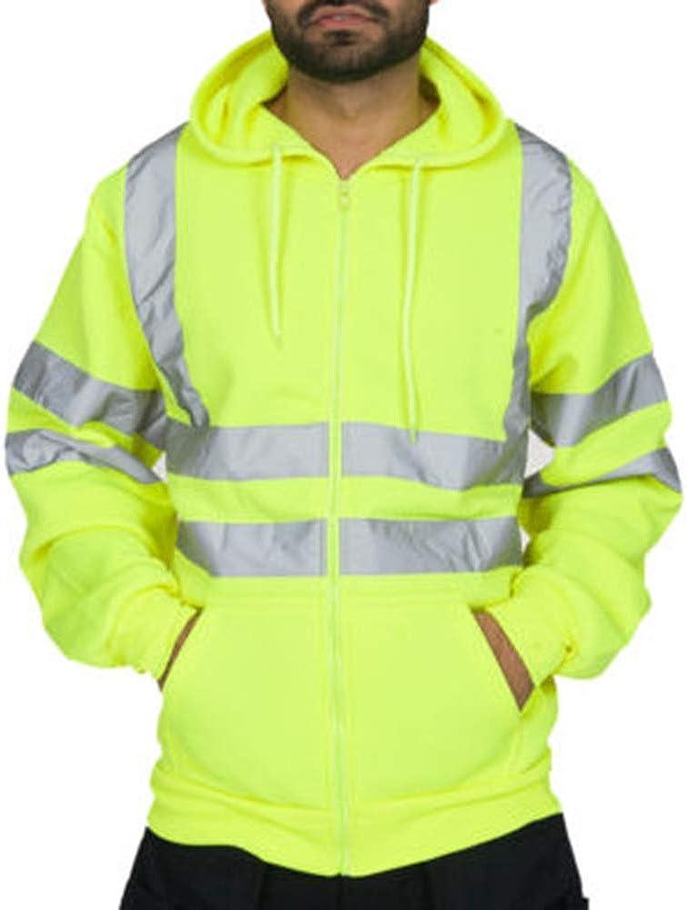 Vertvie Homme Veste avec Bandes R/éfl/échissantes Sweat-Shirt Sport Zipp/é /à Capuche Pullovers de S/écurit/é Haute Visibilit/é V/êtements de Travail Route Moto Auto
