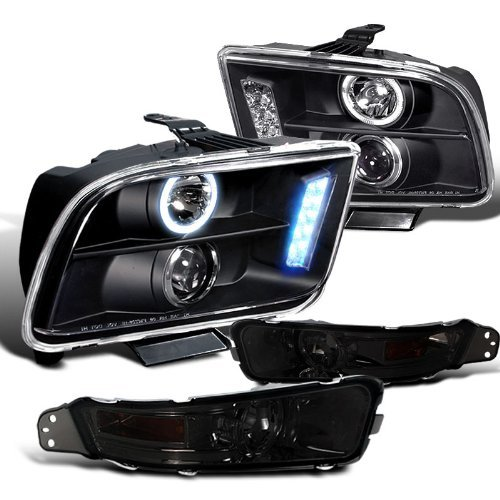 Mustang Projector Led Headlight - Ford Mustang Gt Base, Black Halo Led Projector Headlights, Smoked Bumper Lights