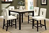 Poundex F2338 & F1322 Faux Marble Top W/ White Leatherette Stools Counter Dining Set