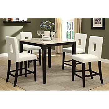 Wonderful Poundex F2338 U0026 F1322 Faux Marble Top W/ White Leatherette Stools Counter Dining  Set