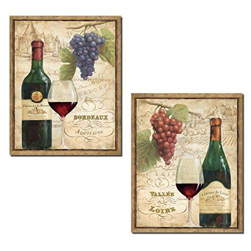 - Gango Home Decor Beautiful Vintage-Style Wine Bottle, Glass, Grapes and Vineyard Print Set by Daphne Brissonnet; Two 11x14in Paper Posters