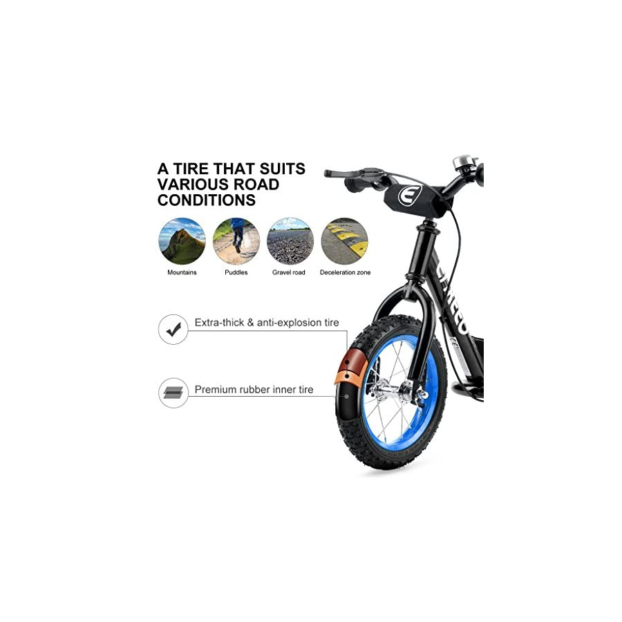 ENKEEO 14 12 inches Sport Balance Bike No Pedal Control Walking Bicycle Transitional Cycling Training Rubber Tires, Adjustable Seat Upholstered Handlebars Kids Toddlers