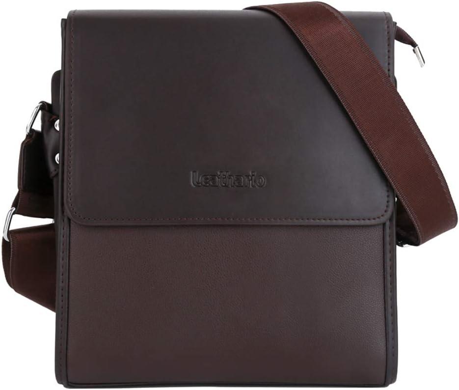 Leathario Herren Lederoptik Schultertasche Umhängetasche Messengerbag Täglicher Gebrauch Große Kapazität Für Mode Braun 3 Koffer Rucksäcke Taschen