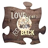 Love You to the Moon & Back 12 x 12 inch Wood Puzzle Piece Wall Sign Plaque