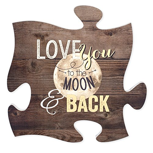 (P. Graham Dunn Love You to The Moon & Back 12 x 12 inch Wood Puzzle Piece Wall Sign Plaque)