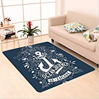Nalahome Custom carpet age Label with an Anchor and Lettering the World is Big Go Explore Ocean Journey Image Navy Blue area rugs for Living Dining Room Bedroom Hallway Office Carpet (6 X 9)