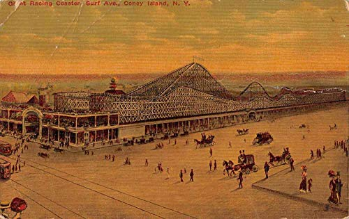 Coney Island New York Giant Racing Coaster Amusement Park Postcard JE229148