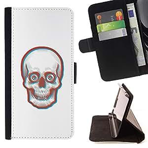 Momo Phone Case / Flip Funda de Cuero Case Cover - Cara 3D Skull Skeleton - Apple Iphone 6 PLUS 5.5